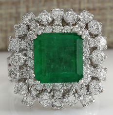 Certified 6.91 Carat Natural Emerald 14K Solid White Gold Diamond Ring *** Free shipping *** No Reserve *** Free Resizing