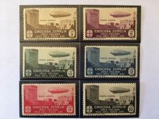 Italy, Aegean 1933 - Zeppelin Crossing - 6 values, complete series - Sass. No.  22/27.