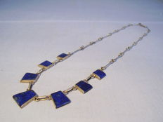 Necklace with lapis lazuli segments
