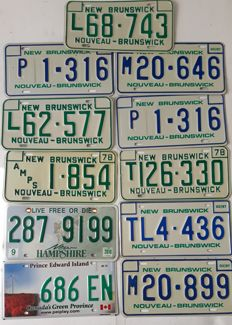 Set of 11 Canadian license plates