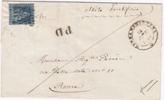Toscana  letter with 6 cr. azzurro n.7e