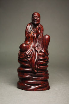 Rosewood sculpture of a Buddhist monk - Japan - Late 20th century
