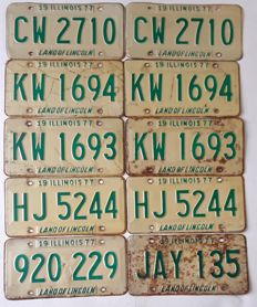 Set of 10 American license plates Ilinois