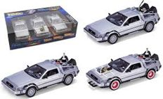 Welly - Schaal 1/24 - Back to The Future Set ( 3 Cars ) De Lorean Time Machine Trilogy Pack
