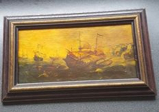 Old painting with Dutch ships