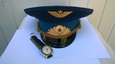 "Ceremonial headdress of the Soviet pilot and wrist watch ""Vostok"" 80s years . the USSR ."