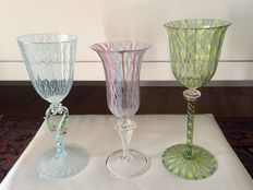 Murano - stem glasses in Art Nouveau style