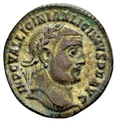 Roman Empire – Licinius I 308-324, AE silver-plated Follis struck in Heraclea c. 312	A.D.