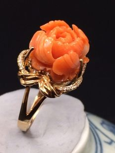 18k gold inlaid old coral ring