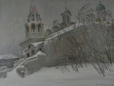 V. I. Boroviskoi (Russian,*1946) - Snow covered Moscow church
