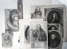 10 portrait prints by various artists (17th - 19th century) - Various rare portrait prints  - 17th 20th century