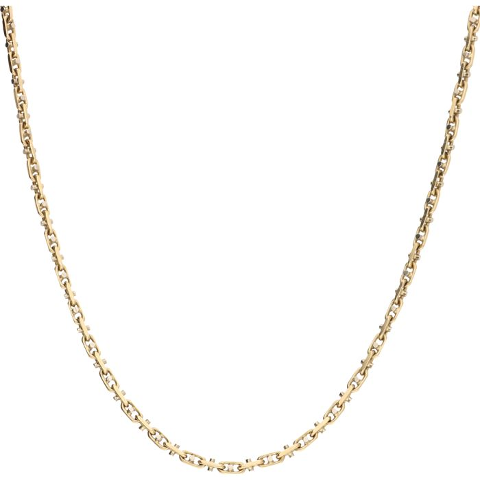 14 kt - Bi-colour fantasy link necklace - Length: 50.5 cm