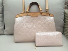 Louis Vuitton - Rose Angelique Monogram Vernis Brea MM Bag + Wallet