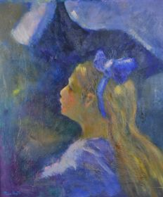 Pierre Varet. (1870-1939) - The girl with the blue bow.