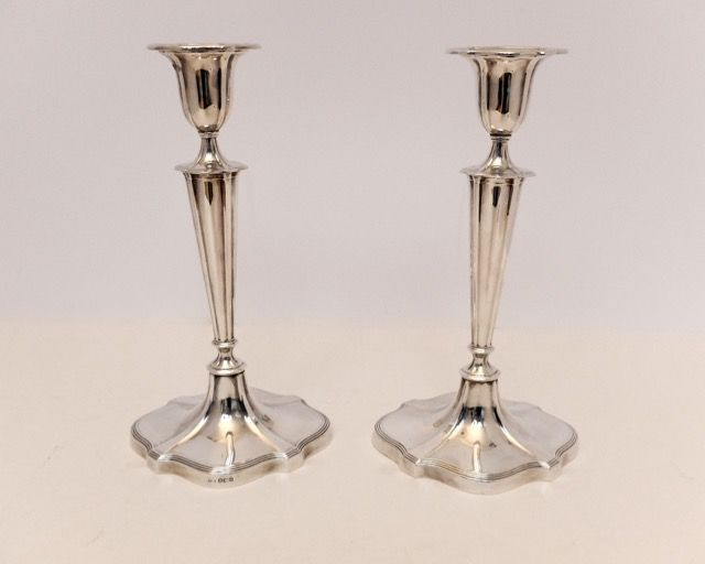 High candle stands solid silver - Walker & Hall - Sheffield - 1930
