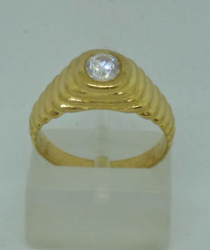 14kt yellow gold Men's ring with cubic zircon - size: 54