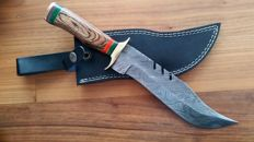 Original Damascus knife - handmade hunting knife with cow hide leather.
