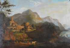 Unknown (18th/19th century) - A mountainside monastery with figures and cattle and bay beyond