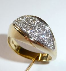 Ring made of 14 kt / 585 gold with pure white diamonds (G) in brilliant cut approx. 1 ct - ring size 56