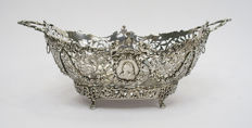 Ajour processed silver wedding sweet basket, the Netherlands, 1891