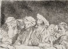 "Rembrandt van Rijn (1606-1669) - Pharisees from the ""Hundred-guilder print"" - probably 19th century or early 20th century"