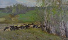 A. B. Volkov. (Russian, 20th century) - Moscow Spring, with cattle grazing