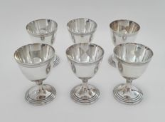 Six silver plated wine cups - Christofle, France