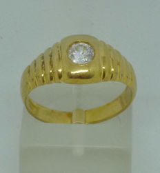 K14 yellow gold Men's ring with cubic zircon - size: 57