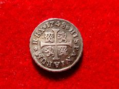 Spain – Fernando VI (1746–1759) – 1/2 real silver coin –  Madrid, 1748