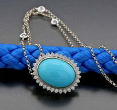 Turquoise brilliant necklace, 1 beautiful oval turquoise, 750 white gold -- no reserve price --