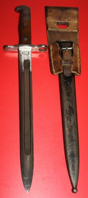 Bayonet for Schmidt-Rubin M1889, Switzerland, 1st model in very good condition with leather frog, 20th century