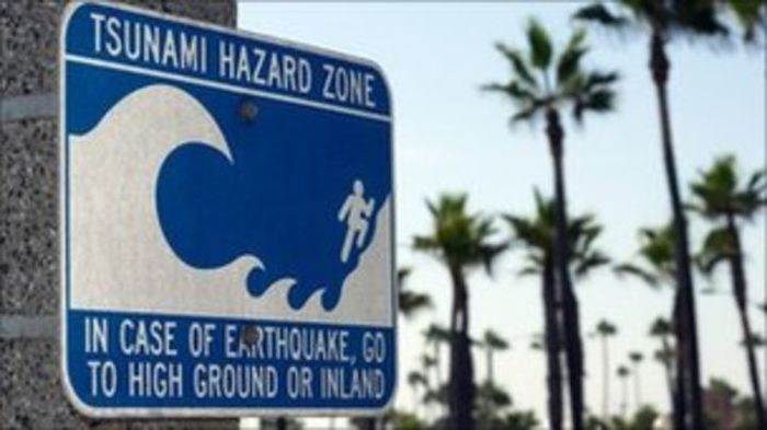 Lot of 2 warning/danger signs! Tsunami hazard zone +