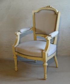 A painted Louis XVI style armchair - France - circa 1860/1880