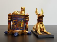 Franklin Mint - The Treasures of Ancient Egypt -24K gilded hand-painted porcelain - Anubis The Jackal-God & Unguent Container