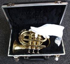 New gold-coloured ChS Pocket trumpet with very solid case, Bb tuning