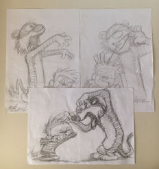 Joan Vizcarra - 3 Original Preparatory Sketches - Calvin and Hobbes