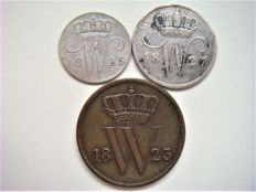 Netherlands - 1 cent 1823U, 5 cents 1825B and 10 cents 1827U Willem I - copper and silver.