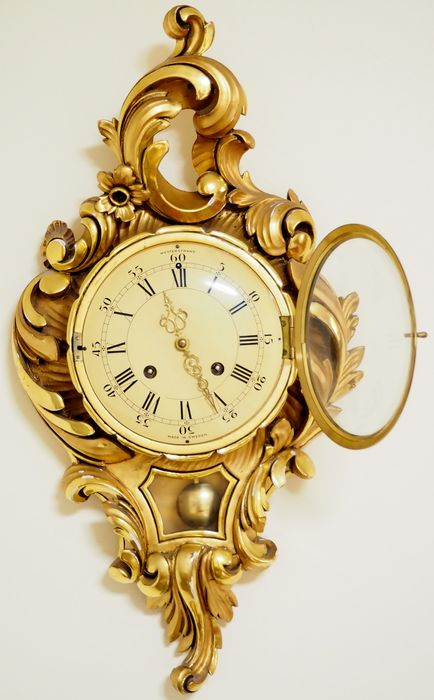 Swedish Westerstrand gilt hand carved wood wall clock ...