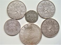 Holland and the Netherlands – ¼ guilder 1759, 1 guilder 1863, 2½ guilders 1959, 1960 and 1961, 50 guilders 1987 (six coins in total) – silver