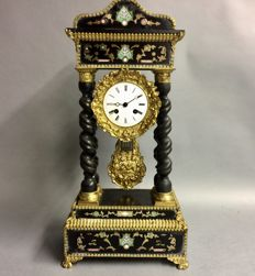 Black French column pendulum with magnificent inlay work – circa 1880