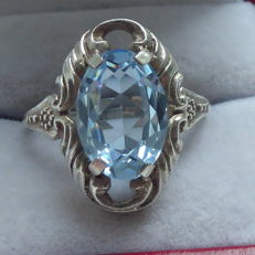 Classic silver ring with light blue topaz - France