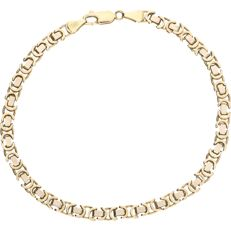 14 kt bicolour gold link bracelet The outer links are yellow gold, the inner links are white gold – length: 22.2 cm
