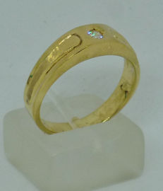 14kt yellow gold Men's ring with cubic zirconia - size: 60