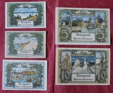 Germany, Memel - complete set of 9 values 22/02/1922