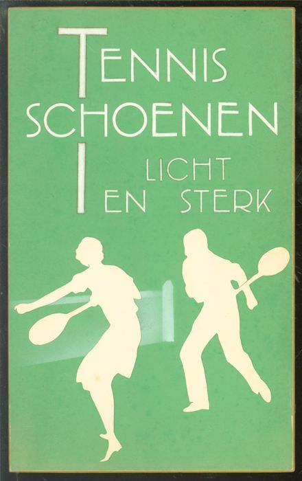 "Cardboard handmade shop advertising for the stores of ""Van Woensel Schoenen. - Tennis Schoenen licht en sterk - from the 1950s"