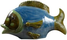 Hand-decorated ceramic fish L75X D25 x H45