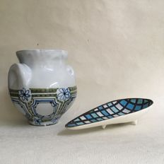 Roger Capron for Vallauris - Handled vase & drop-shaped bowl with mosaic pattern