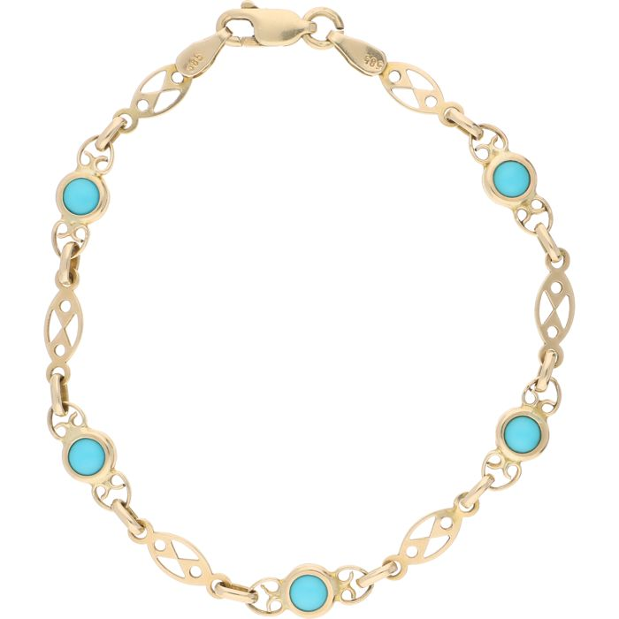 14 kt – Yellow gold link bracelet set with 5 cabochon cut turquoise stones – Length: