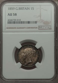United Kingdom - Shilling 1859 Victoria in NGC Slab - silver