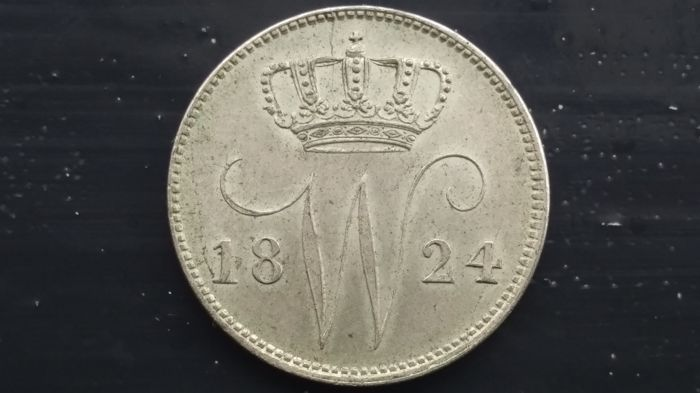 The Netherlands – 25 cents 1824B, Willem I – silver